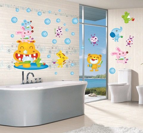 Colourful child bathroom