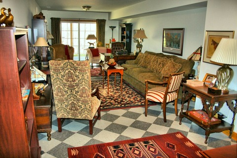 Living room area with rugs