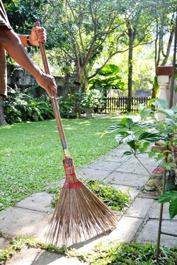 Sweeping the garden