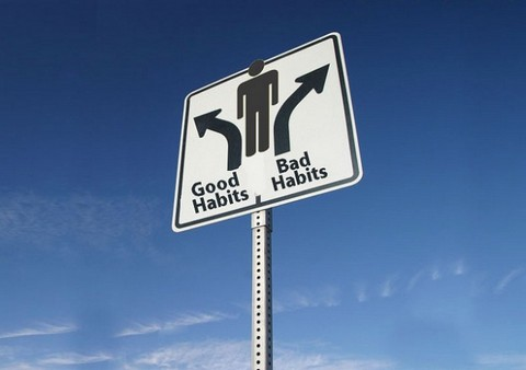 Good Habits, Bad Habits sign, with arrows pointing in different directions