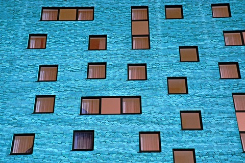 An array of building windows
