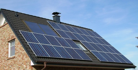 Solar panel array on house