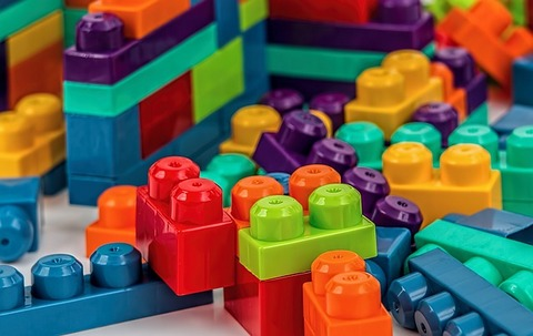 Colourful plastic building blocks