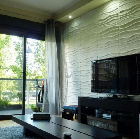 Wavy stripes wall covering