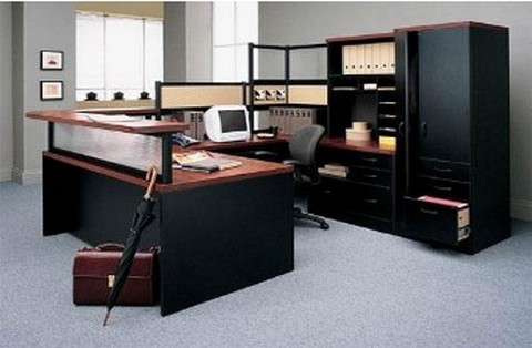 Dark-coloured office furniture