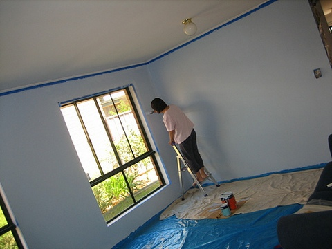 Mum painting a wall
