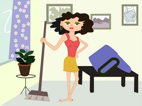 A drawing of a woman keeping the house clean
