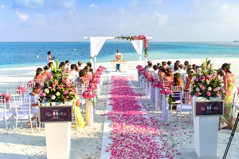 Wedding party in tropics